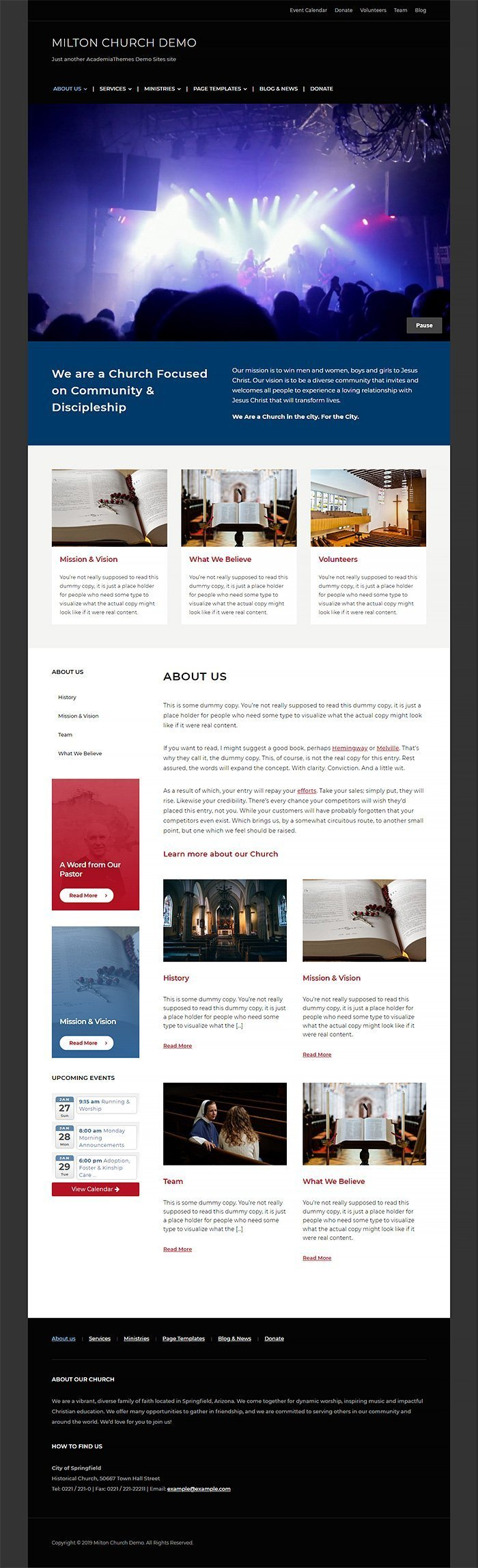 Milton WordPress Theme - Church Website Demo Homepage Preview